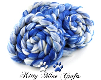Winter Blues - Superfine Merino, Silk, and Faux Cashmere - 4oz/113g - Spinning Fiber, Felting Wool - Wool Roving - Phat Fiber
