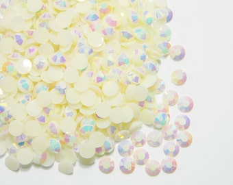 1000 4mm White AB Jelly Flatback Resin RHinestones ss16 Candy Cabs DIY Deco Bling Crafting Decoden Embellishments