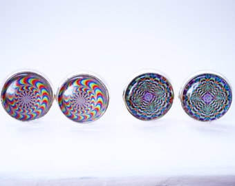 Psychedelic cabochon earring studs