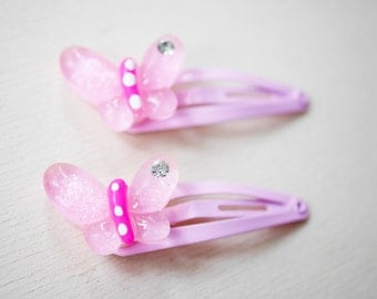 2x girly butterfly hair clips