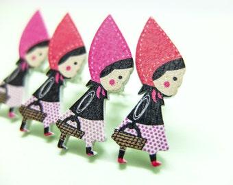 Clip on earrings little Red Riding Hood