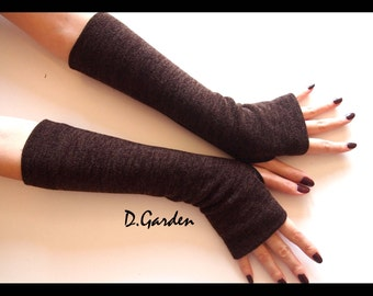Dark Brown Cotton Strechy Knitted Cut & Sewn Soft Fingerless Arm Warmers Great For Party and Prom