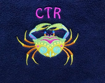 Embroidered CTR Scarf, crab, Certified Tumor Registrar
