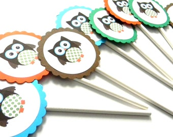 12 Brown Owl Cupcake Toppers, Owl Theme, Owl Toppers, Owl Birthday, First Birthday, Forest Animals, Owl Baby Shower, Boy Owl