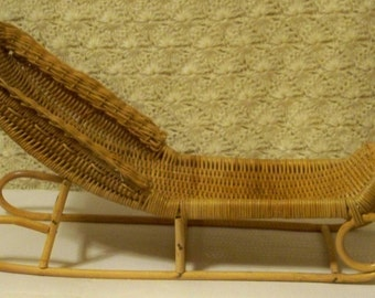 Vintage Doll Furniture - Wicker Chaise Lounge