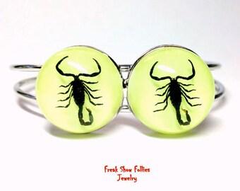 Real double scorpion specimen glow in the dark open cuff bracelet