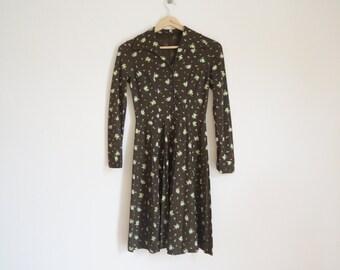 Vintage 1960s Floral Brown Dress