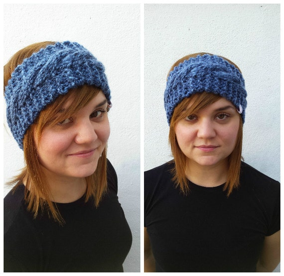 Alpaca Headband Knitting Pattern : Blue wool headband knit headband alpaca and wool headband