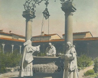 Monks by well Florence antique hand tinted photo Italy