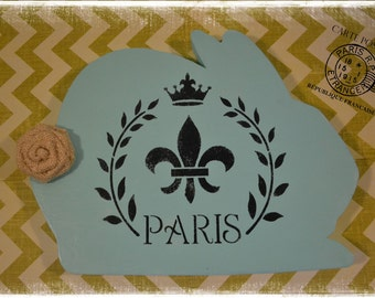 Shabby Chic Vintage Style French Paris Bunny Rabbit Board