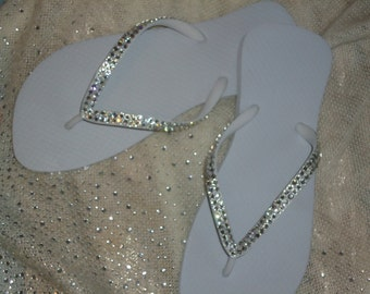 Crystal Covered  Bridal Flip Flops-Clear Crystals