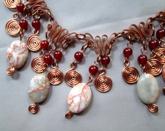Gypsy hippie redline marble, copper link, red agate, spiral dangle necklace.