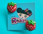 Quirky, Strawberry Earrings, Kawaii, Kitsch, Alternative, WH0'S Off Her Dolly Rocker