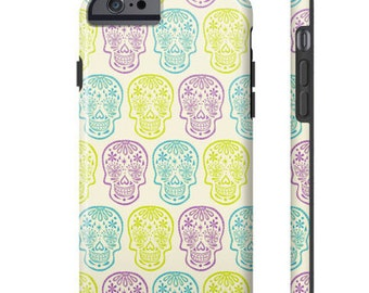 SAMPLE SALE: Sugar Skull Phone Case - lime, lavender and turquoise phone case for iPhone 6