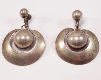 1940's Spratling Silver Drop Earrings Taxco