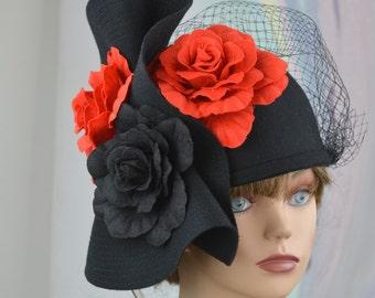 Black Red Felt Hat Church Kentucky Derby Wool Hat Felt Woman Hat Party