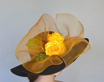Black Yellow Wedding Hat Head Piece Kentucky Derby Hat Black Bridal Coctail Hat Couture Fascinator  Bridal Hat Summer Hat Church Hat