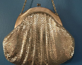 Vintage Whiting and Davis Silver Mesh Evening Bag Post WWII 1950s