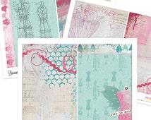 Printable Art Junk Journal Kit - Buxom Beauties - 5x7 Digital Paper Pack - Journal Inserts - Collage - Journaling - Scraps - Aqua Pink Set