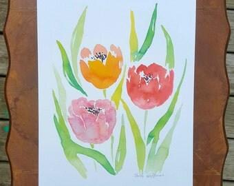 Floral Tulip Watercolor Print
