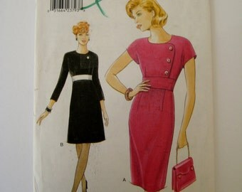 Vintage Vogue Sewing Pattern 9496 A-Line Dress Pattern Long Sleeve Dress Cap Sleeve Dress Tapered Dress Pattern Size 6 8 10 UNCUT