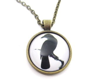 Raven glass cabochon necklace