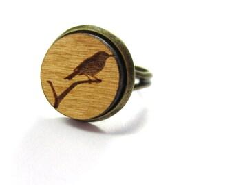 Bird wood ring