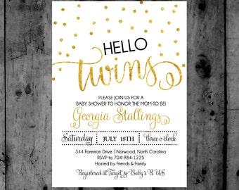 hello Twins gold Confetti Baby Shower Printable Invitation