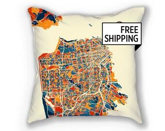 San Francisco Map Pillow - California Map Pillow 18x18