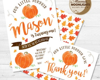 Our Little Pumpkin Invitation -  Pumpkin Party Invite - Back and Thank You Card - Girl or Boy Birthday Invite  (1st, 2nd, 3rd, 4th, etc.)