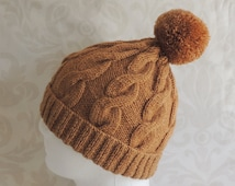 Men's  / Women's,  Light Sandy Brown, Hand Knitted, Cable Pattern Hat With Bobble / Pom Pom.