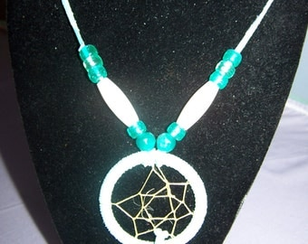 Dream catcher necklace, turquoiswith white accents