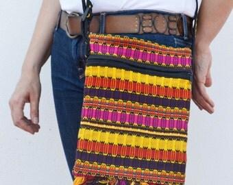 multicolor tribal shoulder bag