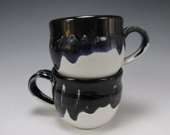 Pair of handmade, stoneware coffee mugs