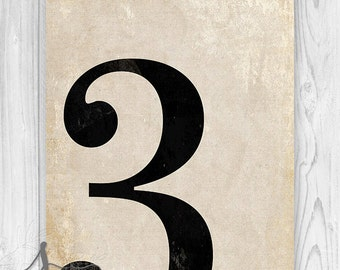 3 - Number Three Art Print, Numerology, Vintage Number Decor, Number Poster, Number Wall Print, Numeral Print, Wall Art Print, Home Decor