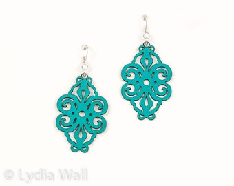"""Laser Cut Leather Earrings """"Spirals"""" in Turquoise"""