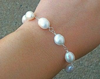 """Real South Sea Ocean Cultured Pearl Beaded Mermaid Silver Bracelet 8"""""""