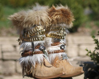 TALL full height any style & size boots Upcycled style REWORKED vintage COWBOY Boots - boho boots - western boots - knee high leather boots