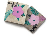 Floral Coasters, Set of 2 tiles, Ceramic Coasters