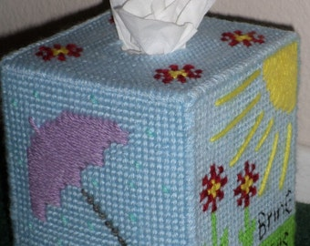 Plastic Canvas Tissue Box Cover - April Showers Bring May Flowers Plastic Canvas Tissue Box Cover - Handmade Plastic Canvas Tissue Box Cover