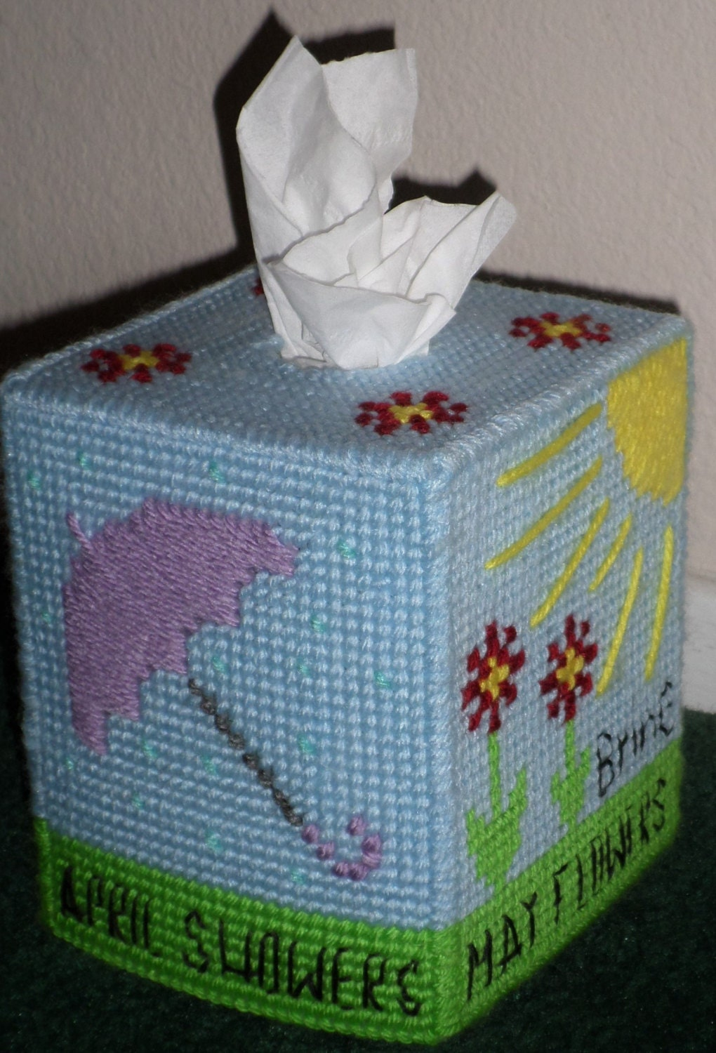 Plastic Canvas Tissue Box Cover April Showers Bring May