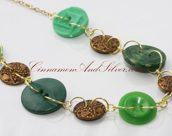 Green and Antique Gold Lucky Charms Button Necklace, Unique Green Button Necklace, Upcycled Green and Gold Button Necklace
