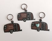 Airstream Camper Trailer Key Chain Trailer Trash Happy Camper or Trailer with faux heart Keychain made of Rustic Rusted Recycled Metal