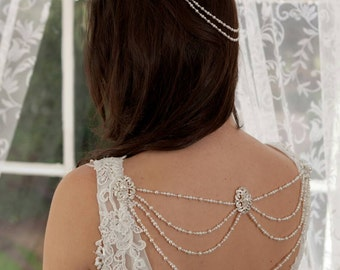 Pearl and diamante bridal dress/back jewellery