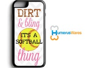 Dirt and Bling Softball Phone Case - iPhone 4,4s,5,5s,5c,6,6plus; Galaxy S3,S4,S5,S6, iPod 4,5 Sports Gifts, Teen Girl Gift