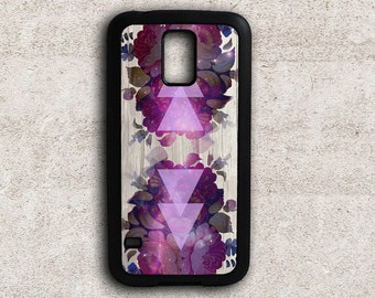 Samsung Galaxy S5 Case Floral, Psychedelic Flowers SG S4 Case, Samsung Case Protective, Hard Case, Galaxy S4 Case Purple