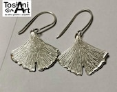 Ginkgo Leaf Earrings, Sterling Silver handmade