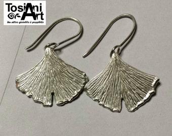 Ginkgo Leaf Earrings, Sterling Silver handmade