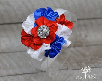 4th of July Headband - Red White and Blue Headband - Patriotic Headband - Baby Headband - Photo Prop - Independence Day Headband - Adult