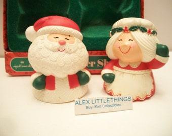 Vintage Santa Mrs Claus Santa Salt Pepper Shakers Hallmark Hong Kong
